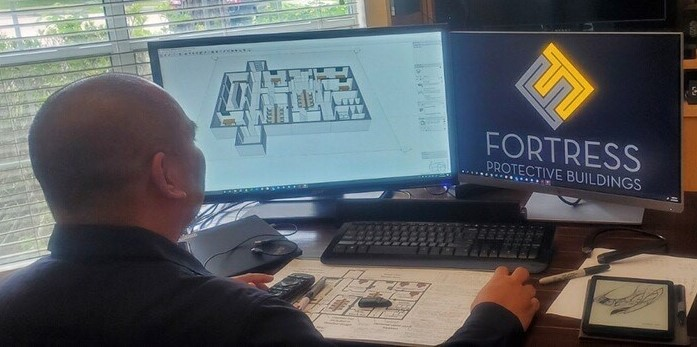 David Prakoth works from home on a FORTRESS floor-plan that gives the client the required building functionality.
